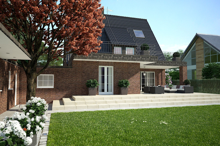 Hoffassade Perspektive 1 Klassische Häuser von formforhome Architecture & Design Klassisch
