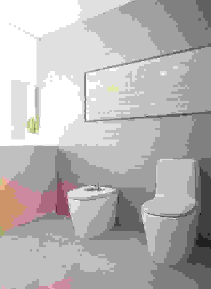 Projekt Wnętrza: Łazienka Żółto-niebieska Minimalistyczna łazienka od Akuratnie Minimalistyczny