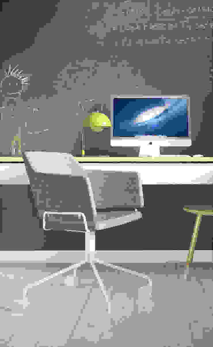Projekt Wnętrza: Mieszkanie Młodego Architekta Skandynawskie domowe biuro i gabinet od Akuratnie Skandynawski