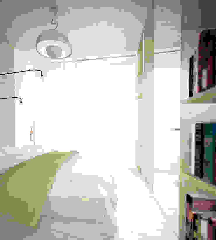 Projekt Wnętrza: Mieszkanie Młodego Architekta Skandynawska sypialnia od Akuratnie Skandynawski