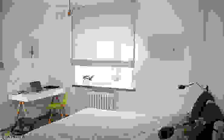 niewielkie mieszkanie w sercu Saskiej Kępy Skandynawska sypialnia od JJJASKOLA ARCHITEKCI Skandynawski