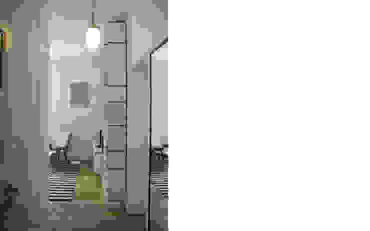 pojemny regał ze sklejki Intterno Skandynawski salon od JJJASKOLA ARCHITEKCI Skandynawski