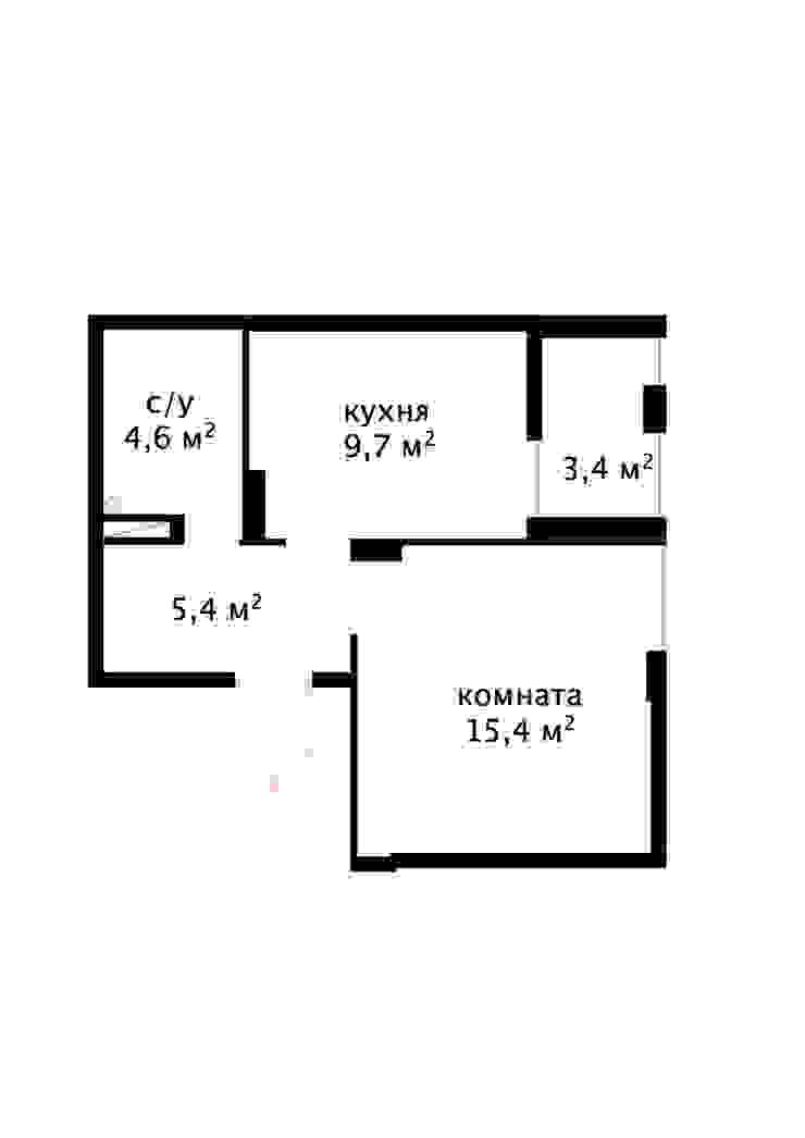 Проект однокомнатной квартиры-студии 40 м² от SAZONOVA group