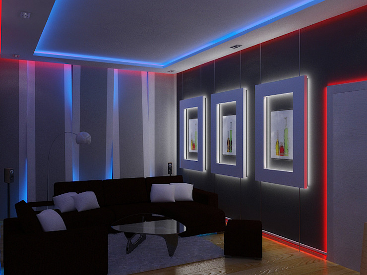 Eclectic style living room by Дизайн студия Александра Скирды ВЕРСАЛЬПРОЕКТ Eclectic