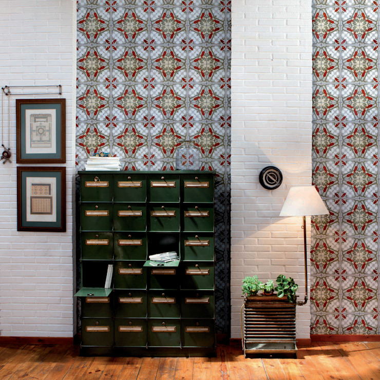 Tiles 'Digitally Printed' Wallpaper Collection: rustic  by Paper Moon, Rustic