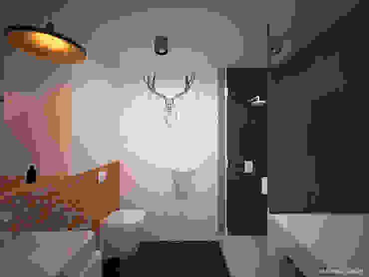 Łazienka z łosiem Minimalistyczna łazienka od Ale design Grzegorz Grzywacz Minimalistyczny