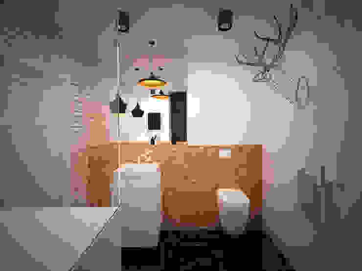 Łazienka z łosiem Skandynawska łazienka od Ale design Grzegorz Grzywacz Skandynawski