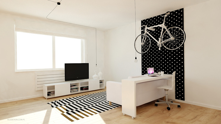 Kawalerka 24m2 w Katowicach do wynajęcia - wersja czarno-biała Minimalistyczny salon od Ale design Grzegorz Grzywacz Minimalistyczny