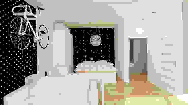 Kawalerka 24m2 w Katowicach do wynajęcia - wersja czarno-biała Minimalistyczna sypialnia od Ale design Grzegorz Grzywacz Minimalistyczny