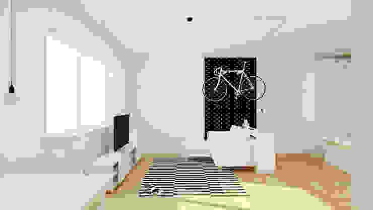 Kawalerka 24m2 w Katowicach do wynajęcia - wersja czarno-biała Skandynawska sypialnia od Ale design Grzegorz Grzywacz Skandynawski
