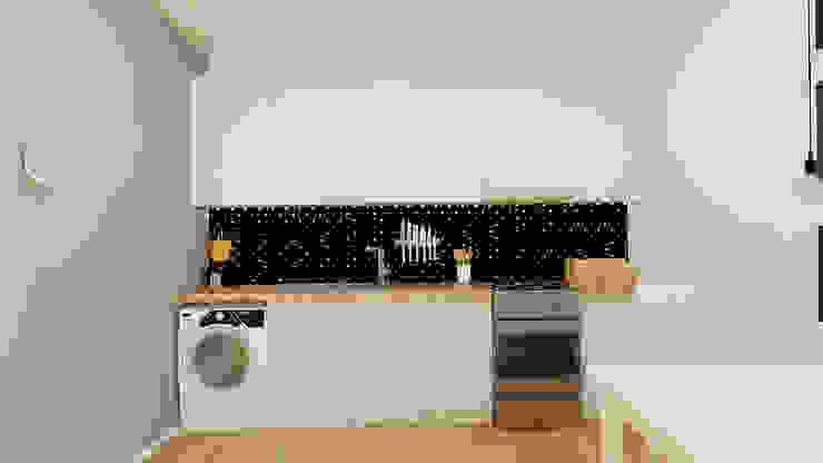 Kawalerka 24m2 w Katowicach do wynajęcia - wersja czarno-biała Skandynawska kuchnia od Ale design Grzegorz Grzywacz Skandynawski