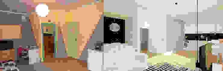 Kawalerka 24m2 w Katowicach do wynajęcia - wersja czarno-biała Skandynawski salon od Ale design Grzegorz Grzywacz Skandynawski