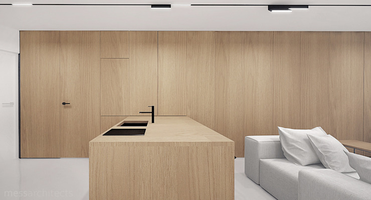 The Wall Minimalistyczna kuchnia od Mess Architects Minimalistyczny