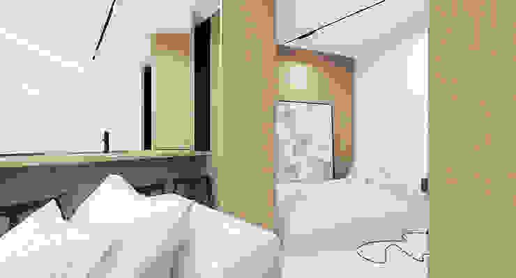 The Wall Minimalistyczna sypialnia od Mess Architects Minimalistyczny