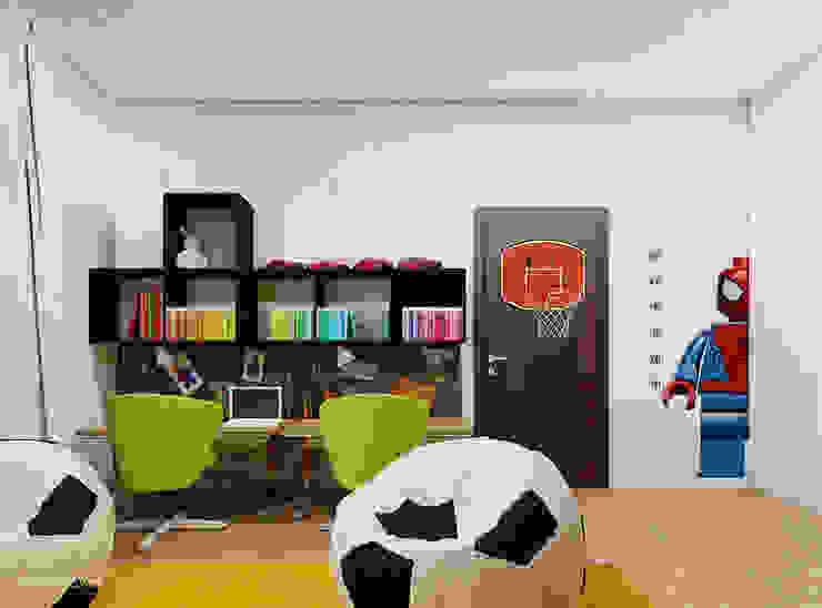 Pokój chłopców w wieku 8 i 5 lat Skandynawski pokój dziecięcy od Ale design Grzegorz Grzywacz Skandynawski