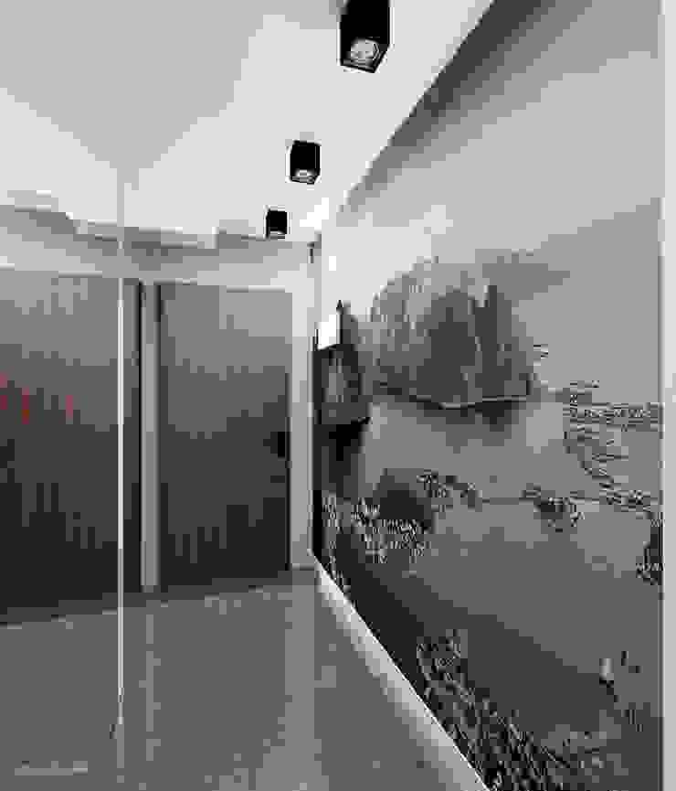 Projekt mieszkania 55m2 w Dąbrowie Górniczej Nowoczesny korytarz, przedpokój i schody od Ale design Grzegorz Grzywacz Nowoczesny