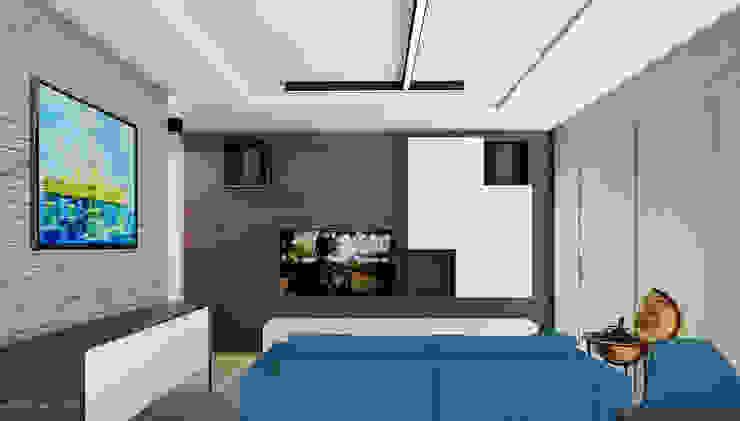 Projekt mieszkania 55m2 w Dąbrowie Górniczej Nowoczesny salon od Ale design Grzegorz Grzywacz Nowoczesny