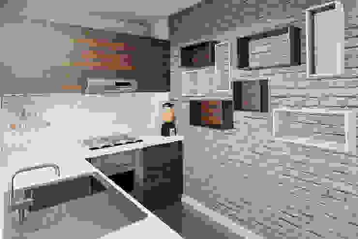 Projekt mieszkania 55m2 w Dąbrowie Górniczej Nowoczesna kuchnia od Ale design Grzegorz Grzywacz Nowoczesny