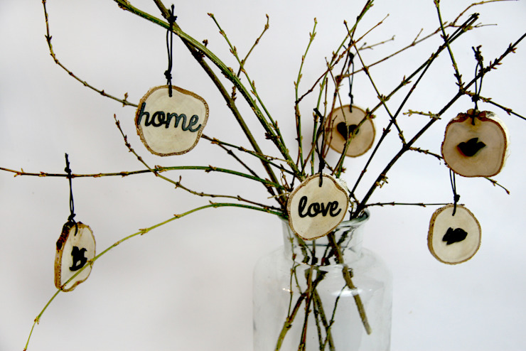 plasterki drewniane na gałęzi w słoju4 od Grin House Design s.c. Skandynawski