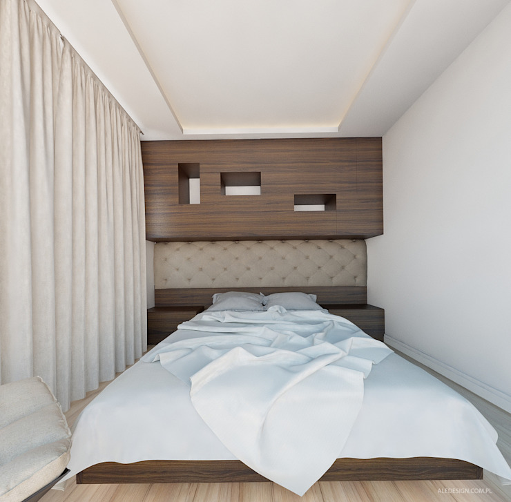 Projekt mieszkania 55m2 w Dąbrowie Górniczej Nowoczesna sypialnia od Ale design Grzegorz Grzywacz Nowoczesny