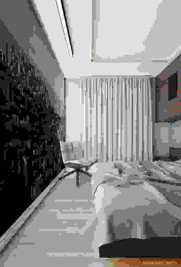 Projekt mieszkania 55m2 w Dąbrowie Górniczej Minimalistyczna sypialnia od Ale design Grzegorz Grzywacz Minimalistyczny