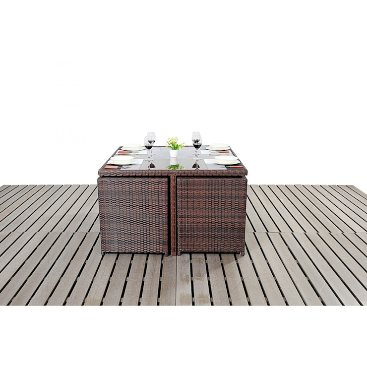 Bonsoni Cube 4 Piece Dining Set - Colour: Brown - Includes a Glass Top Table, Four armchairs With Extendable Back Rests and Four Footstools Rattan Garden Furniture homify JardinesMuebles