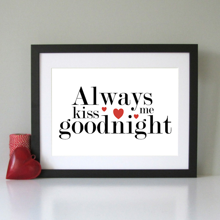 Always Kiss me goodnight art print: modern  by Always Sparkle, Modern