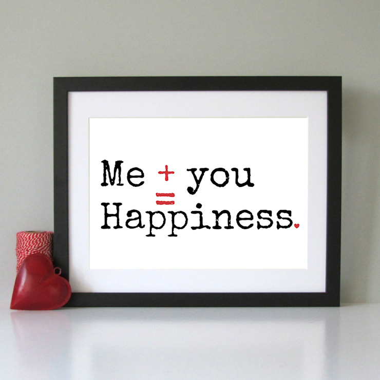Me you happiness modern art print: minimalist  by Always Sparkle, Minimalist