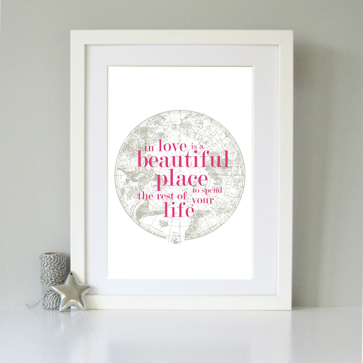 Vintage map romantic art print: classic  by Always Sparkle, Classic