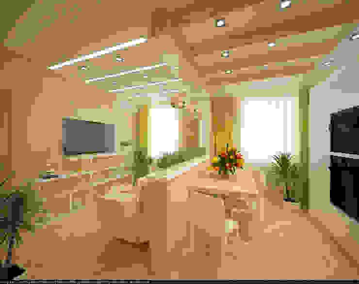 Квартира 70 кв.м. в ЖК <q>Оазис</q> Гостиная в стиле минимализм от Студия дизайна Виктории Силаевой Минимализм