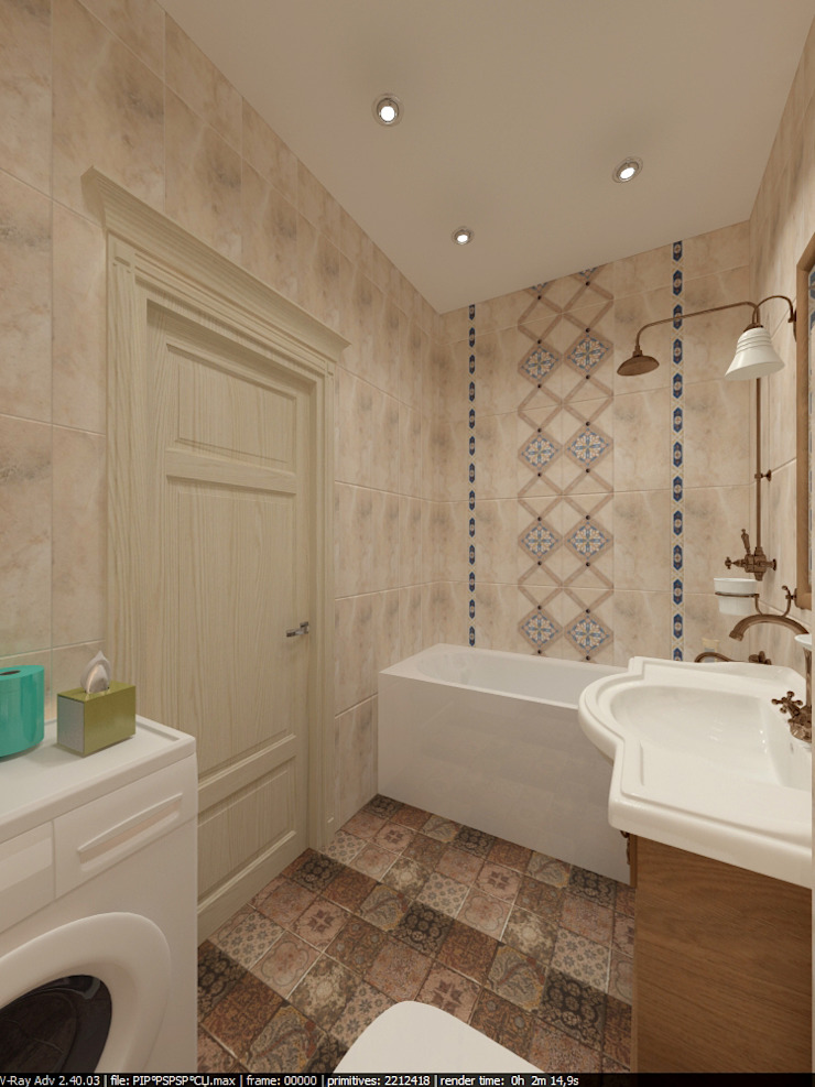Квартира 45 кв.м. в Скандинавском стиле. Ванная комната в скандинавском стиле от Студия дизайна Виктории Силаевой Скандинавский
