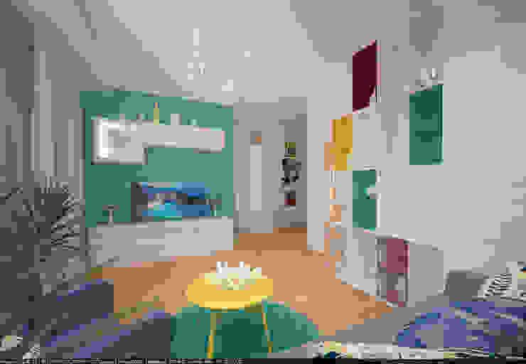 Квартира 45 кв.м. в Скандинавском стиле. Гостиная в скандинавском стиле от Студия дизайна Виктории Силаевой Скандинавский
