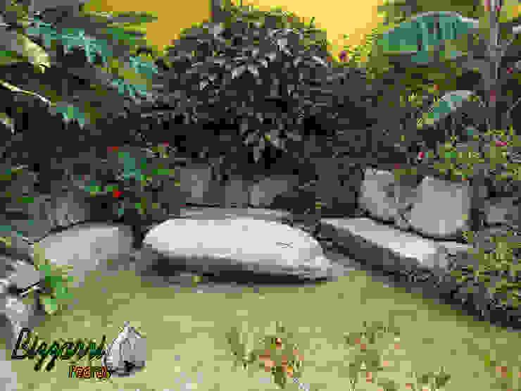 Banco com pedra moledo Jardins rústicos por Bizzarri Pedras Rústico