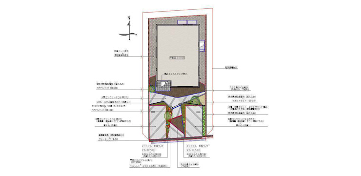 平面図: sotoDesign  株式会社竹本造園が手掛けた現代のです。,モダン