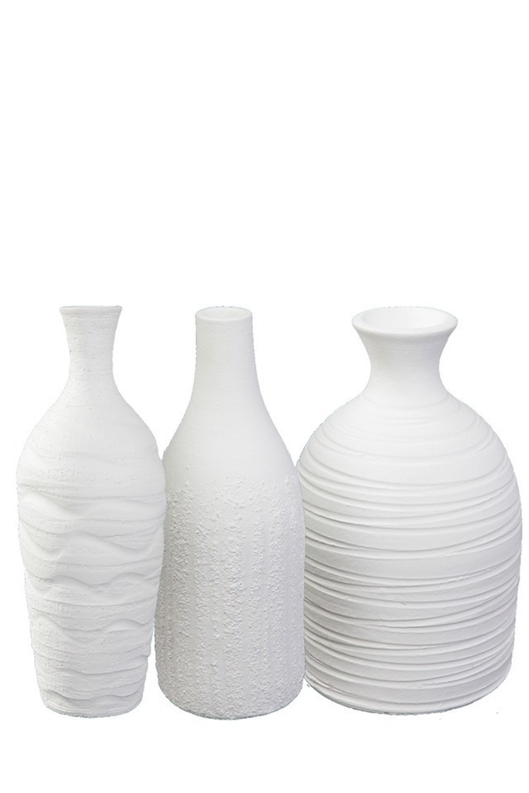 Set of three white vases , Handmade Earth and Fire Lab ComedorAccesorios y decoración