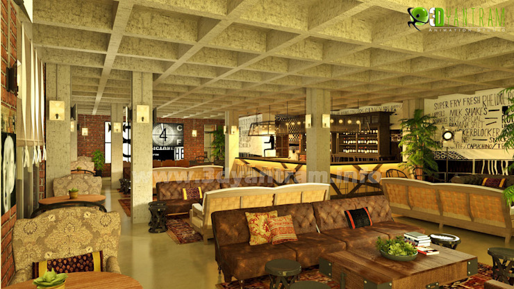 Commercial 3D Interior Design Classic Restaurant: modern  by Yantram Architectural Design Studio, Modern