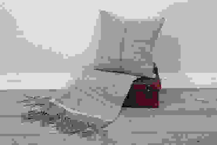 Soft blue/ linen 100% Lambs wool Cushion & Throw: scandinavian  by Suzie Lee Knitwear, Scandinavian
