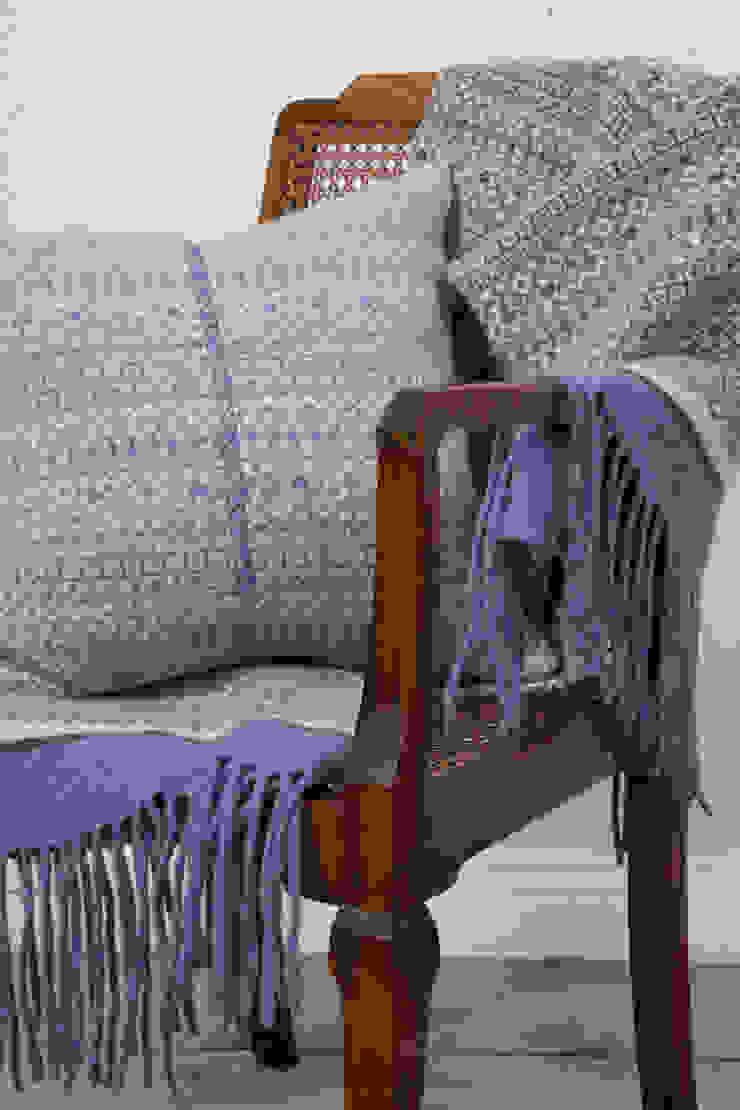 Soft blue/ linen 100% Lambs wool Cushion: scandinavian  by Suzie Lee Knitwear, Scandinavian
