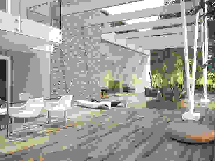 Casona Gris Porcelánico imitación a madera Balcones y terrazas de estilo moderno de INTERAZULEJO Moderno