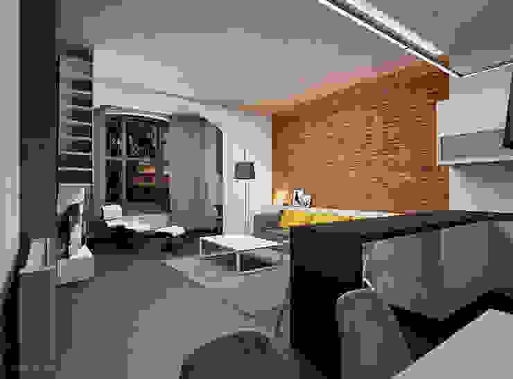 Prze aranżowanie salonu ze ścianą z luksferami i cegłą Nowoczesny salon od Ale design Grzegorz Grzywacz Nowoczesny