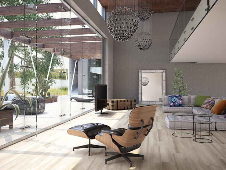 Casona Porcelánico imitación a madera Salones de estilo moderno de INTERAZULEJO Moderno