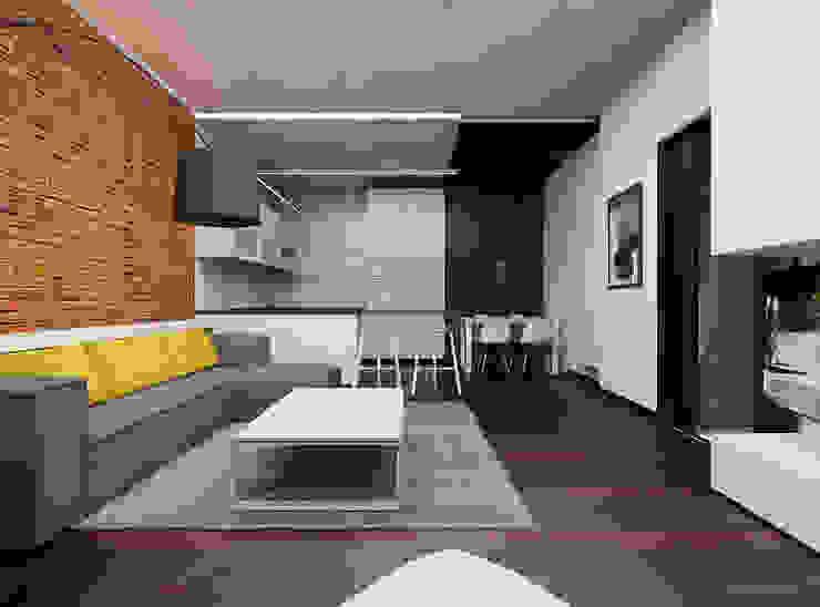 Prze aranżowanie salonu ze ścianą z luksferami i cegłą Minimalistyczny salon od Ale design Grzegorz Grzywacz Minimalistyczny
