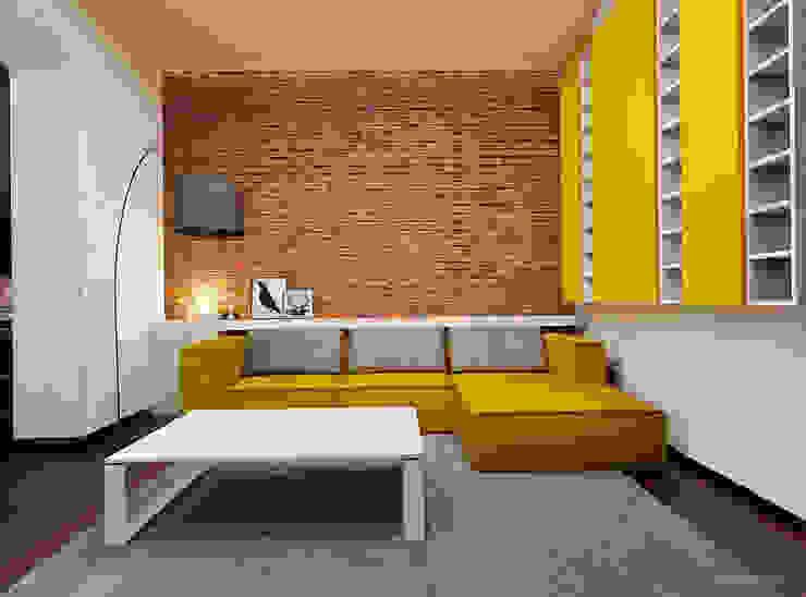 Prze aranżowanie salonu ze ścianą z luksferami i cegłą Skandynawski salon od Ale design Grzegorz Grzywacz Skandynawski