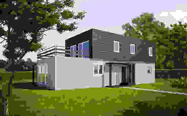 Fachada delantera de la Cube de 175 m2 + 25 m2 de terraza Casas Cube Casas de estilo moderno