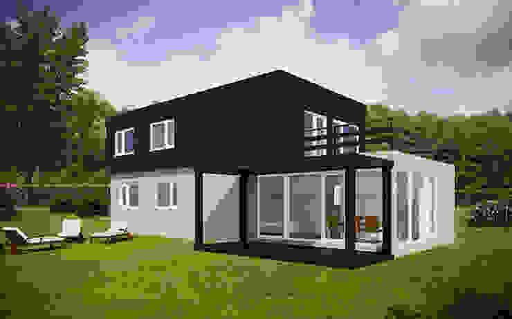 Vista trasera de la Cube de 175 m2 + 25 m2 de terraza Casas Cube Casas de estilo moderno
