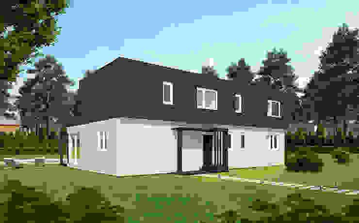 Fachada delantera de la Cube de 250 m2 + 50 m2 de terraza Casas Cube Casas de estilo moderno