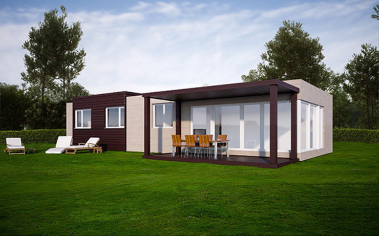 Vista trasera de la Cube de 100 m2 Casas de estilo moderno de Casas Cube Moderno
