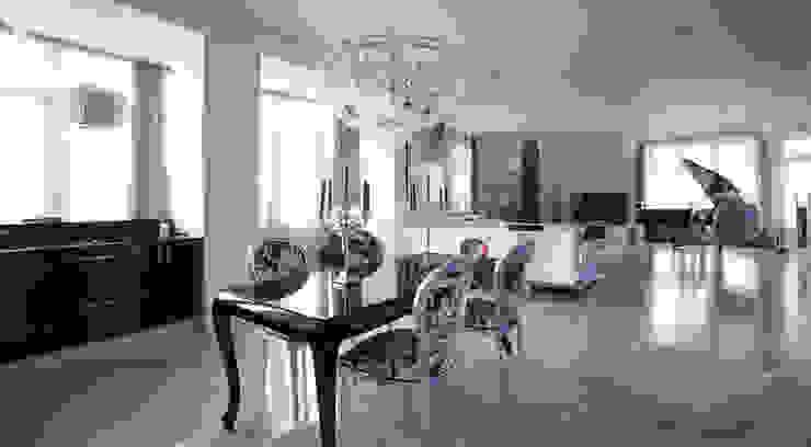Пространство столовой зоны и гостиной Кухни в эклектичном стиле от Студия Максима Рубцова. Эклектичный