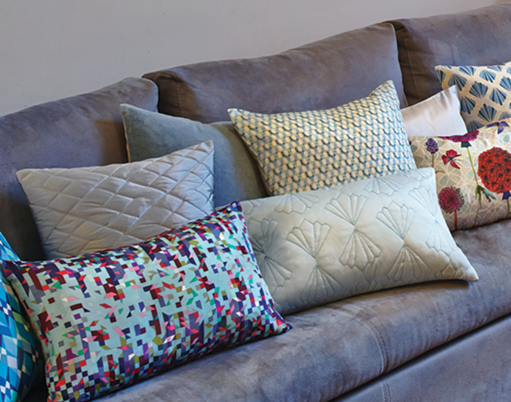 Hand Smocked and Printed Cushion Collection Nitin Goyal London BedroomTextiles