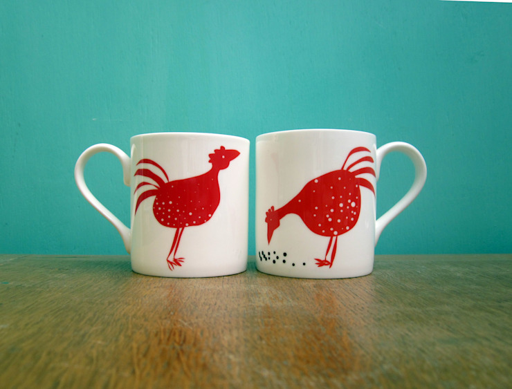 Red chickens mug: eclectic  by The Black Rabbit, Eclectic